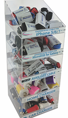 100 pc CELL PHONE CORDS AND PLUGS DISPLAY TOWER