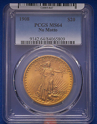 1908 $20 St. Gaudens Double Eagle Gold Coin PCGS MS 64 No Motto. Lowest on eBay!