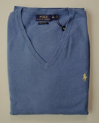 Polo Ralph Lauren Sweater 2XL Blue NWT $98 V Neck Pima Cotton XXL Mens
