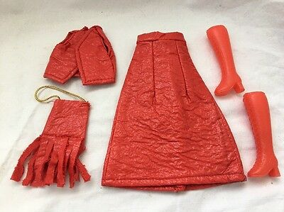 Vintage Knock Off Barbie Doll Clone Outfit RED VINYL Skirt VEST Purse Boots Mego