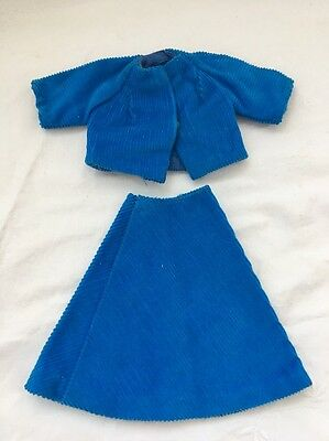 Vintage Knock Off Barbie Doll Clone Outfit BLUE CORDUROY Jacket & Skirt