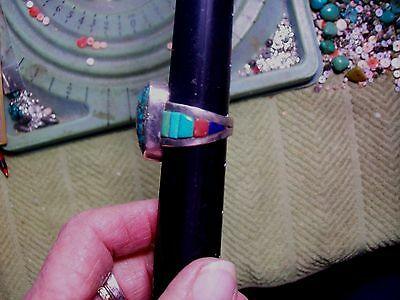EXEL SMITH WORK Old Unsigned Turquoise Ring looks morenci n cobl inlay on band