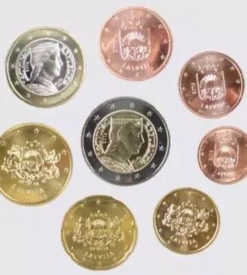 Latvia 2014 - Set of 8 Euro Coins (UNC) 1cent To 2 Euro All Coins