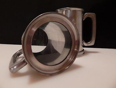2) Sheffield England Pewter Beer Tankards/Mugs with Glass Bottoms EC
