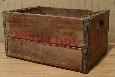 Vintage 1950 Canada Dry Beverages Wooden Crate Wood Box