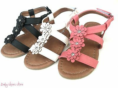New infant toddler girls 3 flowers sandals shoes white,black,pink color 7-12