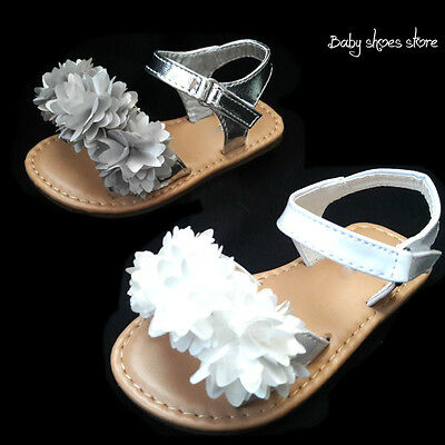 New baby infant toddler girl cute sandals shoes white,silver color size 2-6