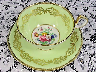 Aynsley Light Green Fancy Gold Floral Tea Cup And Saucer