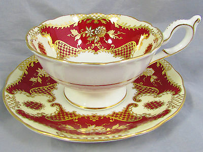 Coalport Rich Red Gold Gilt Floral Ornate Tea Cup And Saucer