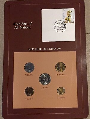 Five Coin Set Uncirculated 1975 - 1981 LEBANON Coins Of All Nations