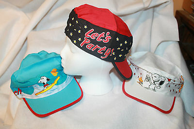 HTF Rare Snoopy Hats Lot of 3  Painters Caps from the 1980's New Old Stock