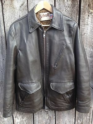 Vtg 70s SCHOTT Motorcycle Jacket Brown Leather Sz 40 Heavy Lined NYC Angels USA