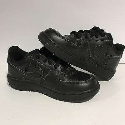 NIKE AIR FORCE 1 Gs Kids - Low Black on Black Leather - Boys Size 11C - SNEAKERS