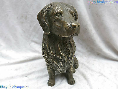 "9"" Fine brass sculpture China carved Feng Shui lucky beautiful dog Statue"