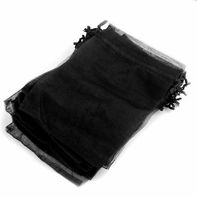 25 X Organza Drawstring Gift Bag Jewellery Pouch Black HOT
