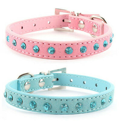 Luxury Rhinestone Crystal PU Leather Dog Cat Puppy Kitten Pet Collar