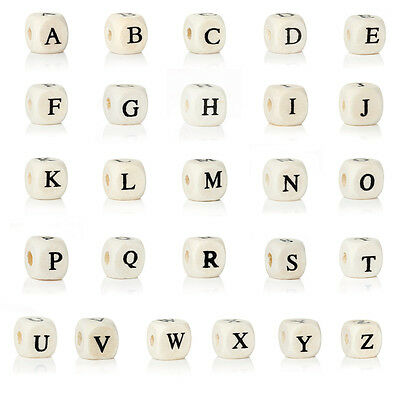 10 Pcs Letter beads Cube for Pacifier chain 10mm Letter freely selectable
