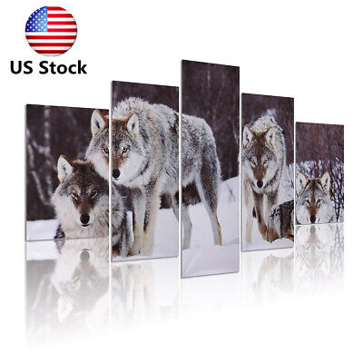 5Pcs Wolf Snowfield Canvas Picture Modern Art Painting Home Wall Decor Unframed