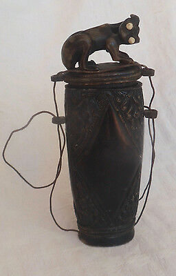 Old Javanese Carved Black Buffalo Horn Beetle Nut Container