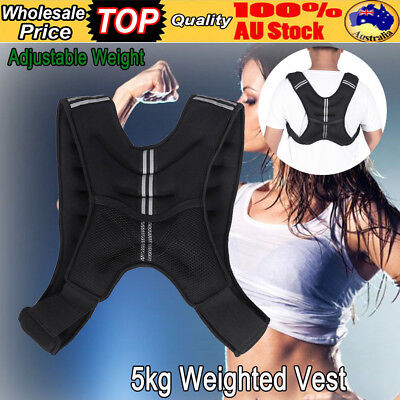 5KG Adjustable Workout Weight Weighted Vest Exercise Gym Train Running AU STOCK