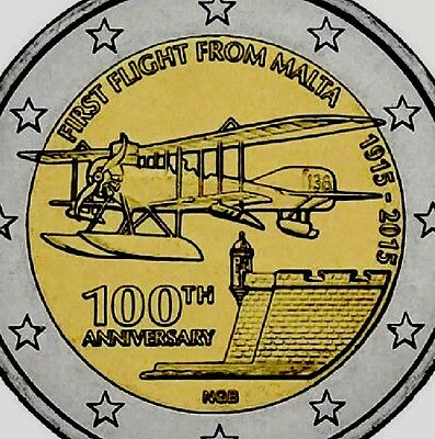 Malta 2 Euro Coin 2015 Commemorative First Flight New BUNC from Roll