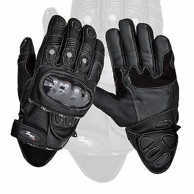 Black Short Leather Knuckle Protection Motorbike Motorcycle Gloves Summer
