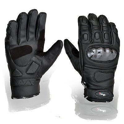 New Black Short Leather Knuckle Protection Motorbike Motorcycle Gloves Summer