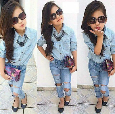 Toddler Kids Baby Girls Outfits Clothes Denim T-shirt Tops+Jeans Pants 2PCS Sets