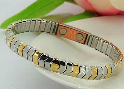 Stainless + Copper Magnetic Energy Armband Power Bracelet Health ELASTIC STRETCH