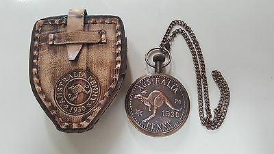 Pocket Watch-Australian Penny 1930 Antique with Chain & leather Box
