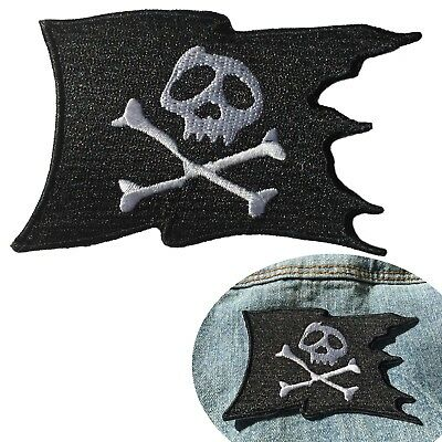 Pirate flag iron on patch -Fast delivery for torn flag skull and bone embroidery