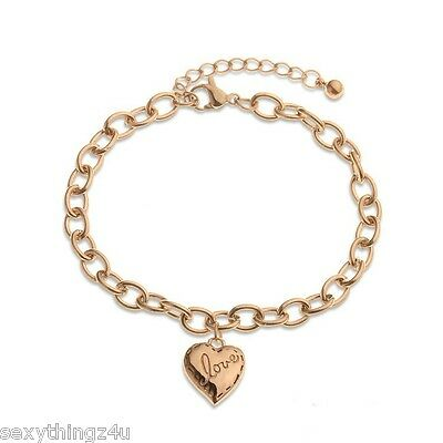 GOLD 18k GP BABY BRACELET with HEART CHARM 16cm + 4cm -Perfect Keepsake Gift.
