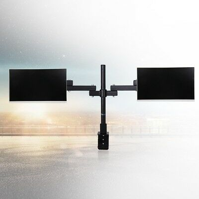 "13-27"" Dual HD LED Desk Mount Monitor PC TV LCD Stand Bracket Swivel 2 Arm Hold"