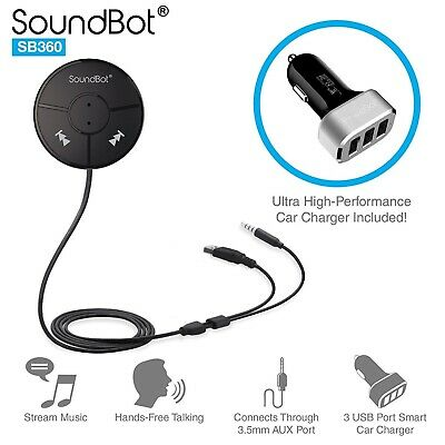 Soundbot Auto Bluetooth Handsfree A2Dp Aux Car Audio Smartphone Iphone New Sb360
