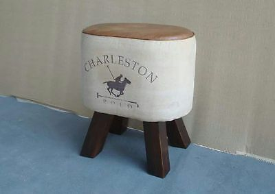 Vintage Style Leather Wooden Baby Stool Chair Design Se001