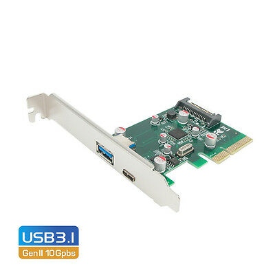 PCI-E x4 to 2 Port SuperSpeed+ USB 3.1 Gen II 10Gpbs Type-C and Type-A Host Card