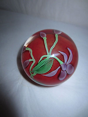 1982 Orient & Flume Iris Flower Studio Art Glass Paperweight Signed B Sillars
