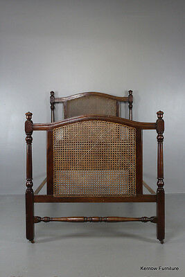 Single Antique Early 20th Century Mahogany Caned Bed Frame