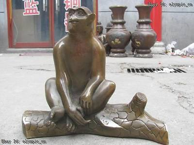 Chinese brass copper carved  Feng Shui finely monkey on branch Sculpture statue