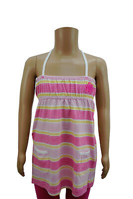 Girls Hawaii Vest Camisole Dress Top Pink & Yellow Stripes White Age 4 to 15 YR
