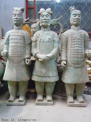 "47"" China bronze copper carved finely three terracotta warrior Sculpture statues"