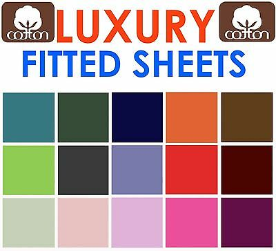 Luxury Percale Non Iron 100% Cotton Extra Deep Fitted Sheets 16''/40cm All Sizes