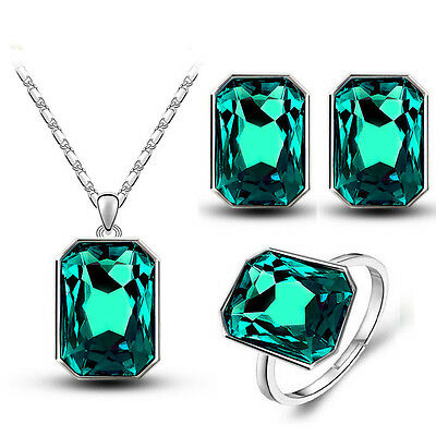Dark Green Jewellery Large Shiny Crystal Adjustable Ring Necklace Set Earrings