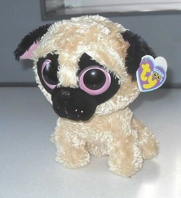 Ty Beanie Boo Pugsly Pug Dog 8 Inch Rare and Retired & TAGS - Soft Toy Pugsley