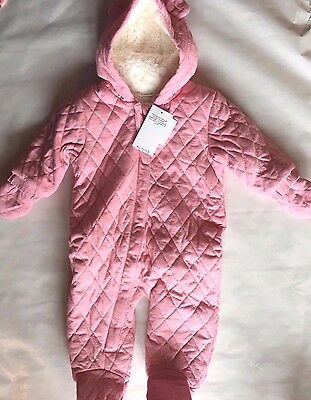 BNWT Next Snowsuit Hooded Pink Quilted Fur Ears Girl All In One With Mittens