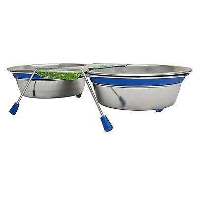 Loving Pets Silent Double Diner Bowl Set for Dogs & Puppies Blue 2 x 0.95 Litre