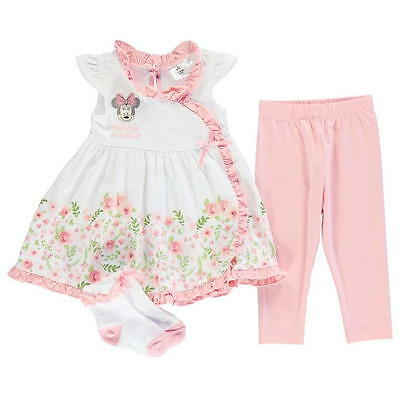 Baby Girls Disney Minnie Mouse Summer Dress 3 Piece Outfit Set Ages 0-24 Months