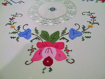 Vintage-Supreme-Quality-Tablecloth-Patch Floral-Hand Stitched-Cross Stitched