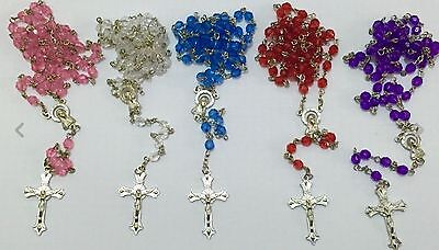 5 Small glass bright faceted glass rosary beads with silver filigree Catholic