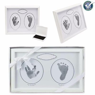 Baby's Framed Handprint Footprint Kit - Perfect Baby Shower Gift, White Design